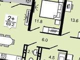 2-комнатная квартира, 70 кв.м., 7/17 этаж, новостройка